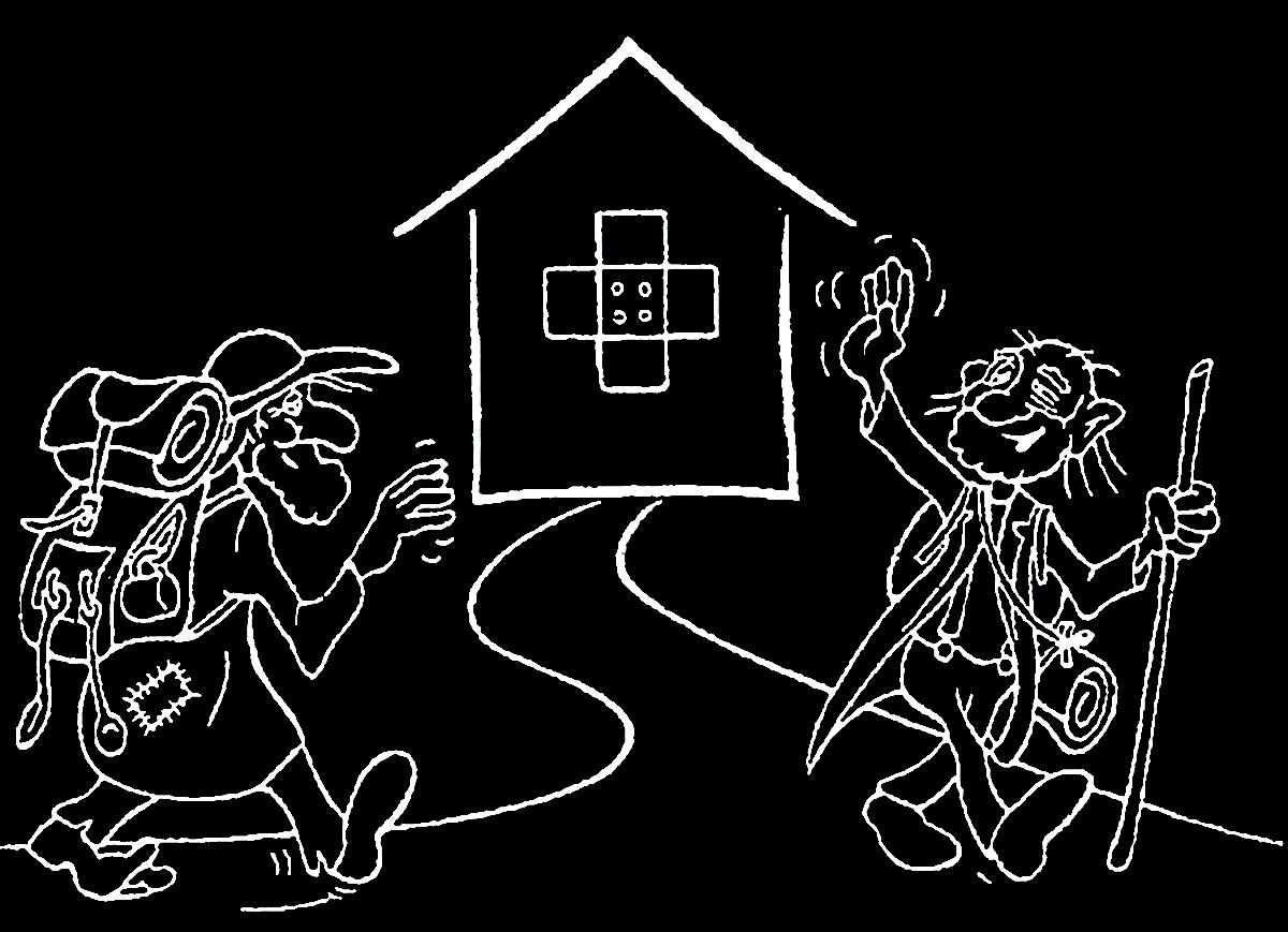 Zeichnung zweier gut gelaunter Obdachloser die sich grüßen. Im Hintergrund ist die Pflasterstube zu sehen.