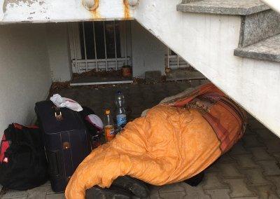 Schlafstelle unter der Treppe